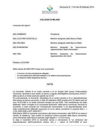 Decisione N. 1143 del 26 febbraio 2014