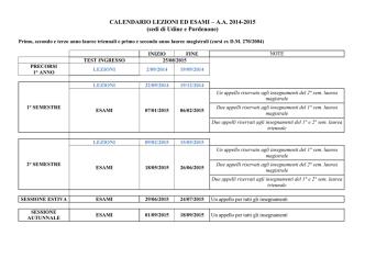 Calendario Lezioni / Esami / Appelli di Laurea