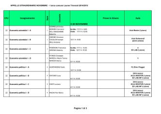 CFU Insegnamento Sem Docente 3-30 NOVEMBRE Prove in itinere