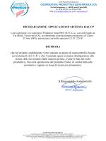 dichiarazione applicazione sistema haccp