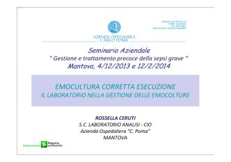 8_presentazione sepsi CERUTI - Azienda Ospedaliera Carlo Poma