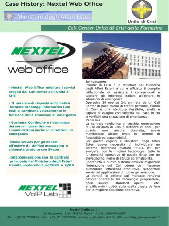 continua a leggere - Nextel Italia S.r.l.