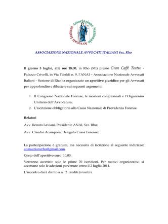 ASSOCIAZIONE NAZIONALE AVVOCATI ITALIANI Sez. Rho