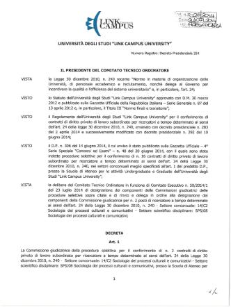 Decreto di nomina della Commissione giudicatrice n. 2 posti 14/C2