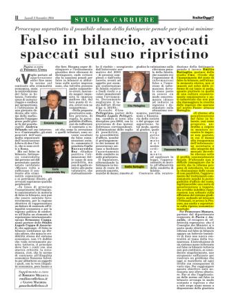 03/11/2014 Falso in bilancio, avvocati spaccati sul suo ripristino