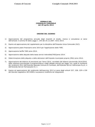 consiglio comunale del 29 aprile 2014