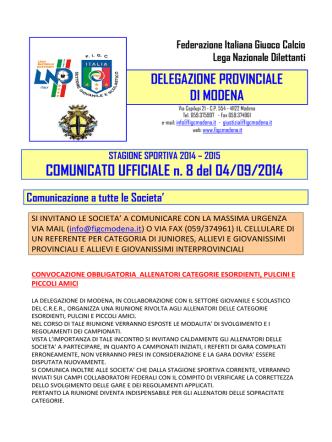 COMUNICATO UFFICIALE n. 8 del 04/09/2014