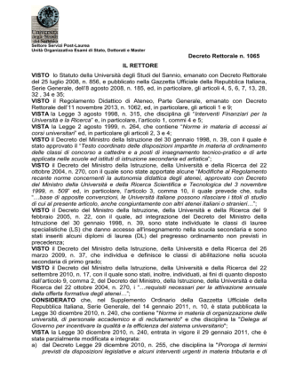 Bando relativo alle prove scritte del II° ciclo dei Corsi di Tirocinio