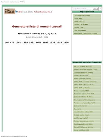 Blia.it - Generatore lista di numeri casuali