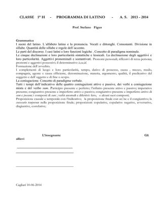 classe 1° h - programma di latino - as 2013 - 2014