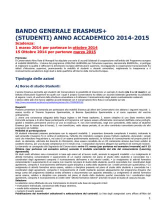 Bando generale Erasmus 2014-2015
