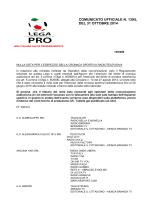 COMUNICATO UFFICIALE N. 139/L DEL 31 OTTOBRE