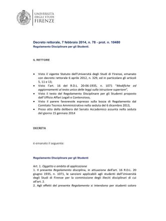Decreto rettorale, 7 febbraio 2014, n. 78