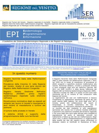 Bollettino EPI n. 3 giugno 2014 - Sistema Epidemiologico Regionale