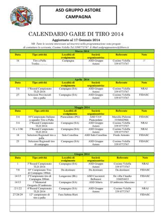 CALENDARIO GARE DI TIRO 2014