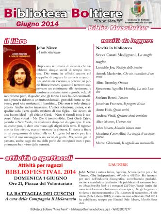 BIBLIONEWSLETTER giugno 2014