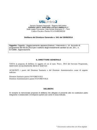 Codice Fiscale e Partita IVA 01499590550 Delibera del Direttore