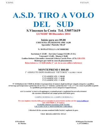 ASD TIRO A VOLO DEL SUD S.Vincenzo la Costa Tel. 330571619