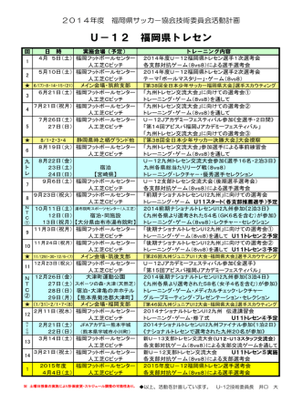 2014 U-12 福岡県トレセン年間計画表