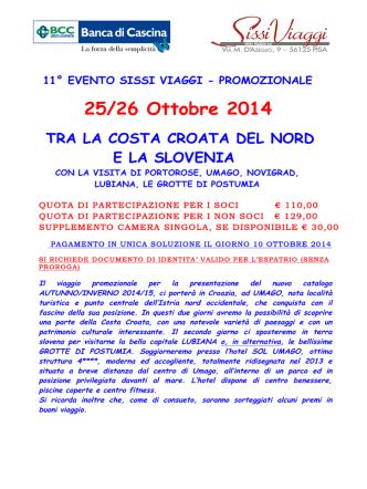 25-26 Ottobre TRA LA COSTA CROATA DEL