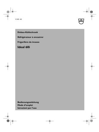 Bedienungsanleitung V-Zug Kühlschrank Ideal 60i