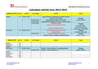 Calendario attività anno 2014-2015