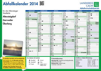 Abfallkalender 2014 - AWG Abfallwirtschaft Landkreis Calw
