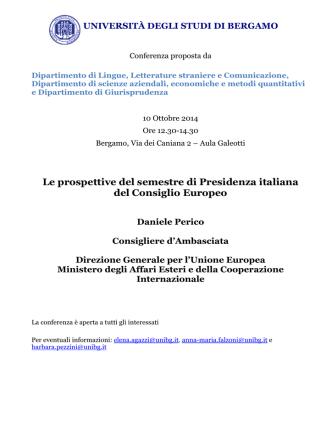 Conferenza dott. Perico - Università degli studi di Bergamo
