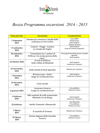 Bozza Programma escursioni 2014 - 2015