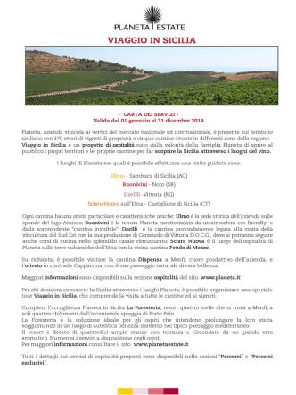 Carta servizi Cantine Planeta 2014