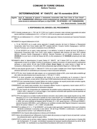 COMUNE DI TORRE ORSAIA DETERMINAZIONE N° 154/UTC del