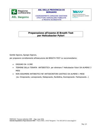 BREATH TEST per Helicobacter Pylori