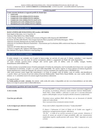 conto zero net - Banca Popolare di Ravenna