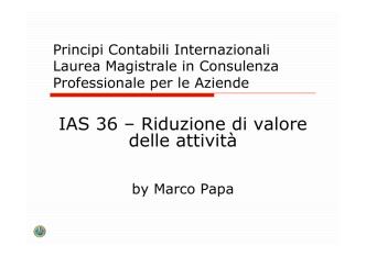 (13) IAS 36 Impairment attività - Università degli Studi di Bari