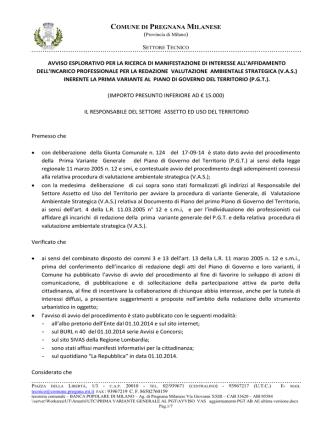 AVVISO VAS - Comune di Pregnana Milanese