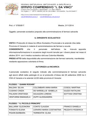 Decreto 5785 nomina personale somm. farmaci