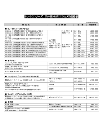 BJ-50シリーズ 天体用冷却CCDカメラ価格表