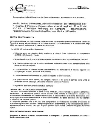 Coordinamento Amministrativo Direzione medica di Presidio