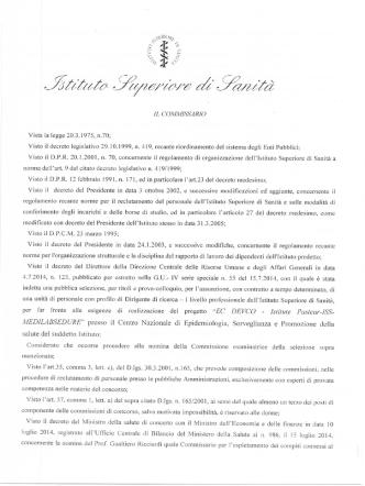 Commissione Esaminatrice Dirigente di ricerca GU 55 del 15.7.2014