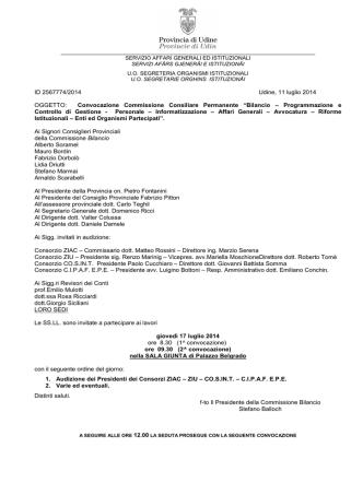 Commissione - Provincia di Udine