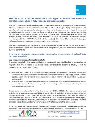 Analisi del settore TPA ITALIA rappresenta un comparto e riunisce