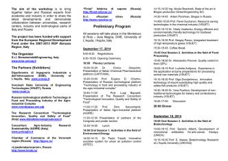 Data: 17-18 Settembre 2014