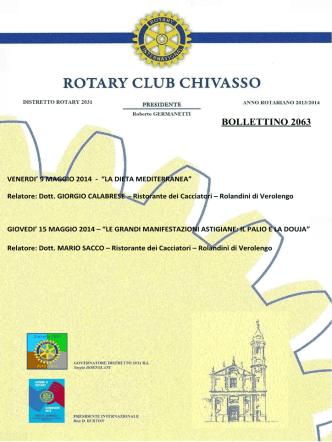 BOLLETTINO 2063 - Rotary Club Chivasso