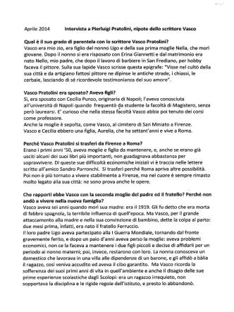 Aprile 2014 Intervista a Pierluigi Pratolini,nipote dello scrittore Vasco
