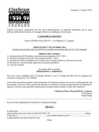 Assemblea Soci 2014 - Cineforum Pensotti Bruni – Legnano