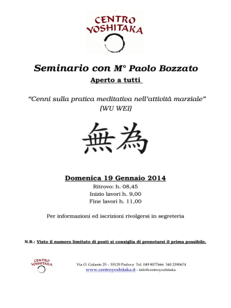 Centro Yoshitaka seminario con maestro Bozzato