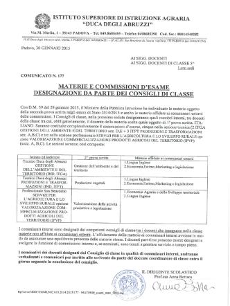 com_177 materie esami di stato - IIS Duca degli Abruzzi Padova