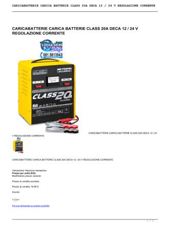 caricabatterie carica batterie class 20a deca 12 / 24 v