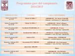 Programma gare del campionato 2014/2015