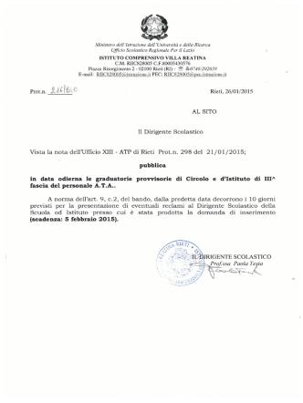 Decreto di Pubblicazione Graduatori a Provvisoria ATA